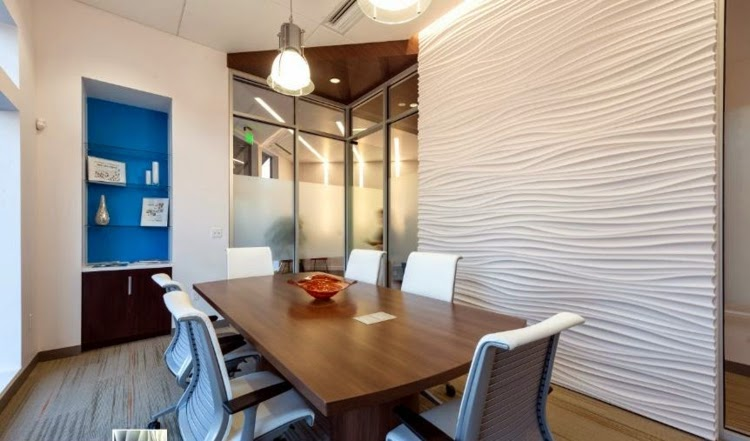 office paneling. 3d wall paneling panels with curved lines in office
