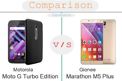 Motorola Moto G Turbo Edition versus Gionee Marathon M5 Plus specifications and features comparison RAM,Display,Processor,Memory,Battery,camera,connectivity,special feature etc. Compare Gionee Marathon M5 Plus and Motorola Moto G Turbo Edition in all features and price,Shopping offers,coupens.