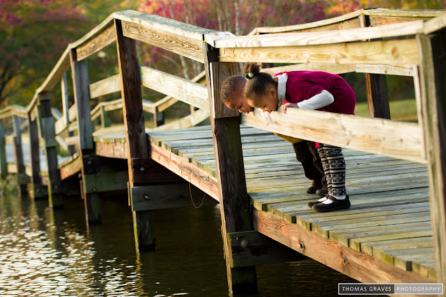 Two young children peer over the railing of a footbridge at the water below.
