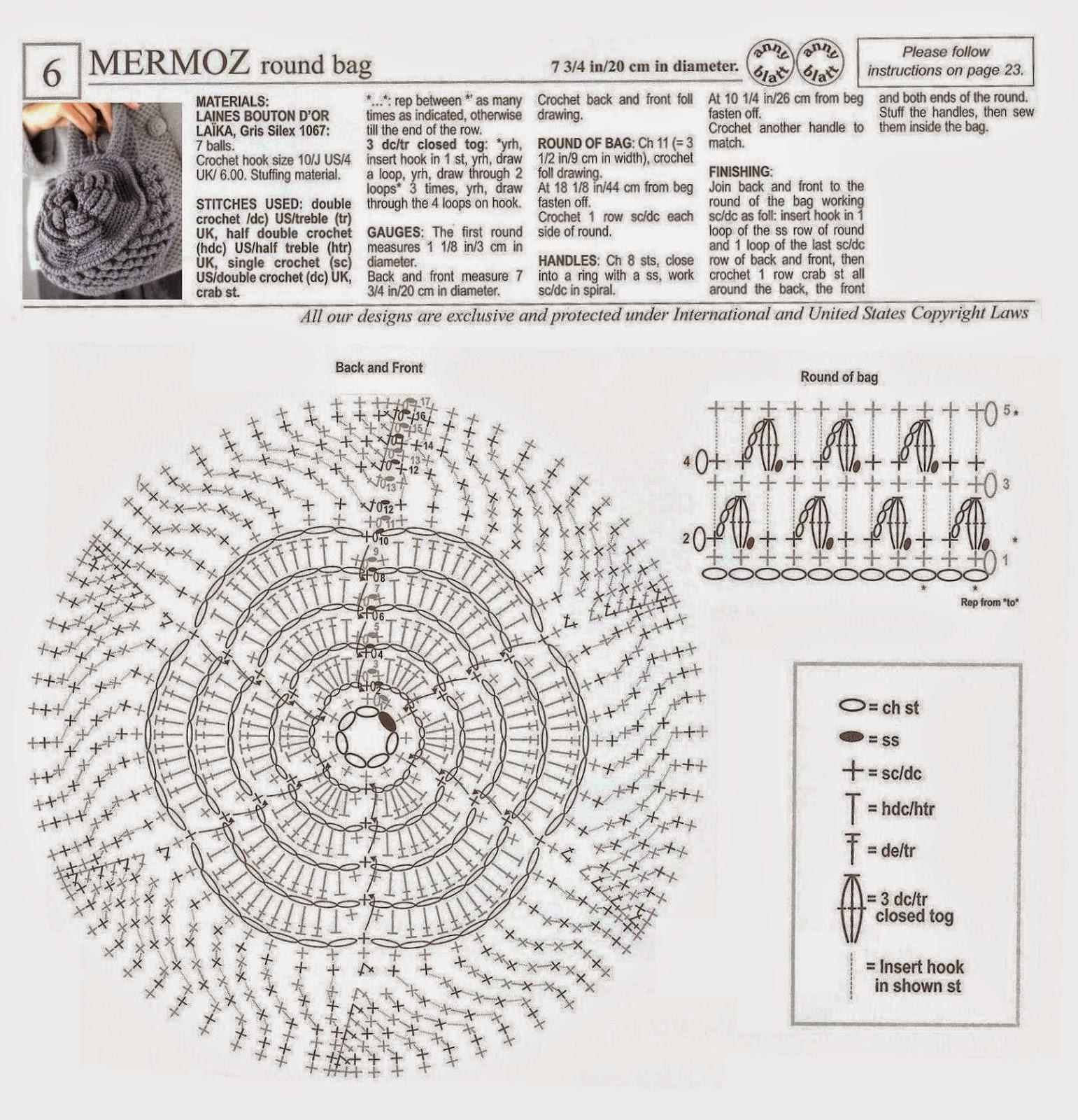 Bolso tejido al crochet - con esquema