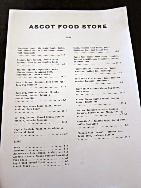 ascot food store menu ascot vale brunch