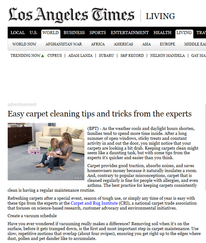 The Carpet and Rug Institute (CRI) - Easy Carpet Cleaning Tips ...