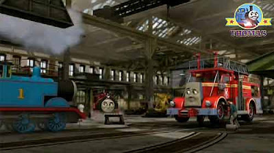Sodor Steamworks manager train Victor and clumsy Kevin the crane big red fire engine Flynn the train