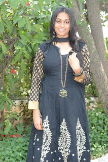 Sravani Latest Stills in Black Salwar Kameez at Jananam Telugu Movie Opening