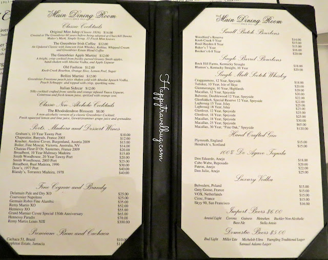 Main Dining Room Drink Menu