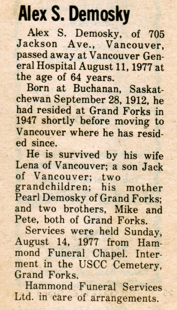 Obituary of Alex S Demosky