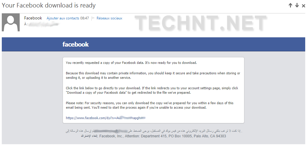 تنزيل نسخة من بياناتك الشخصية (الصور، الفيديو، الرسائل، المنشورات..) على موقع الفيس بوك _ التقنية نت - technt.net