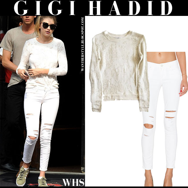 Gigi Hadid in cream Paige Denim Josette sweater with white ripped skinny jeans Paige Denim Verdugo what she wore june 11 street style