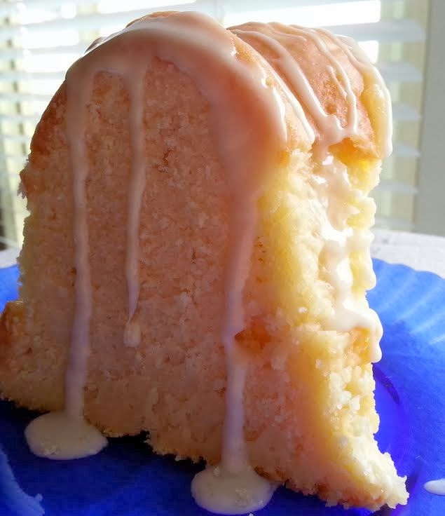 Cream Cheese Pound Cake With Strawberry Glaze