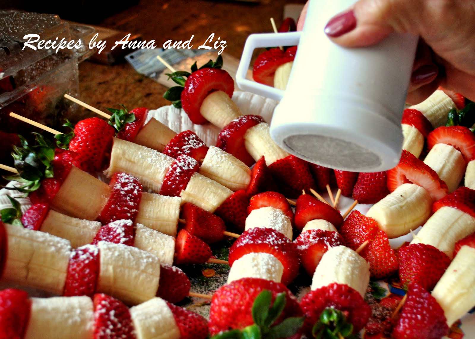 ... ... by Anna and Liz: EASY Strawberry and Banana Kabobs with Chocolate
