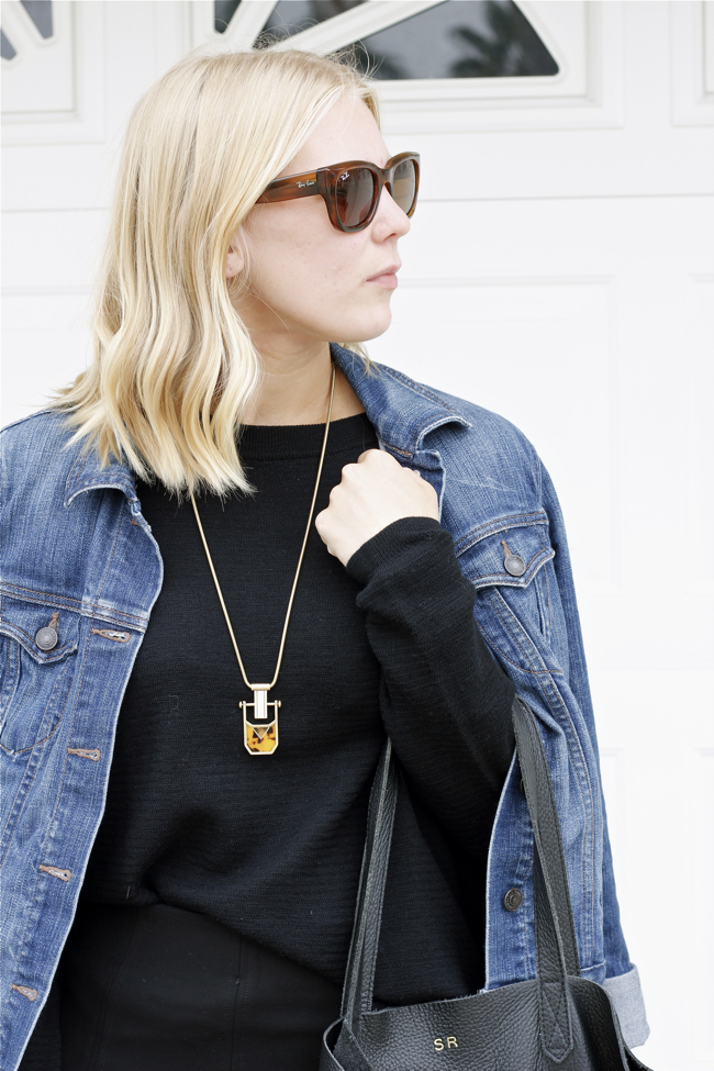 Shae Roderick, denim jacket, black sweater, j. crew, look, style