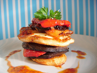 Peri Peri Vegetable and Halloumi Stacks