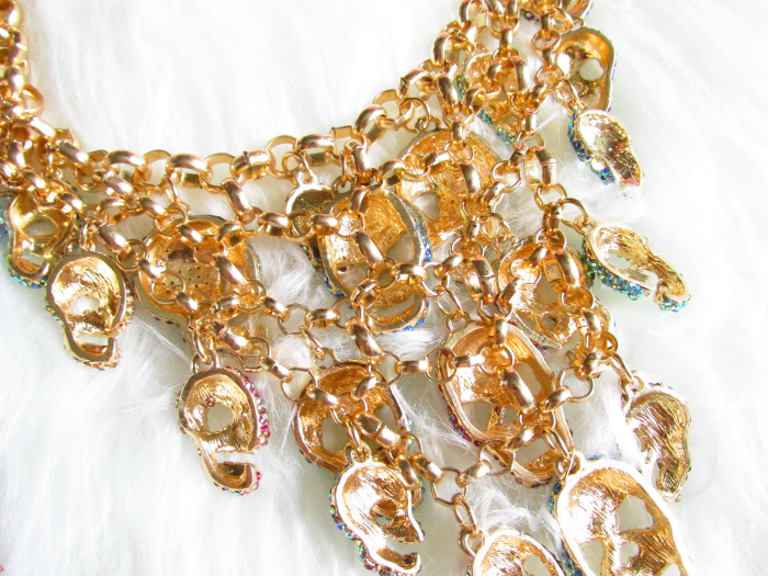 ane Stone - Luxurious Skeleton Statement Necklace - backsite