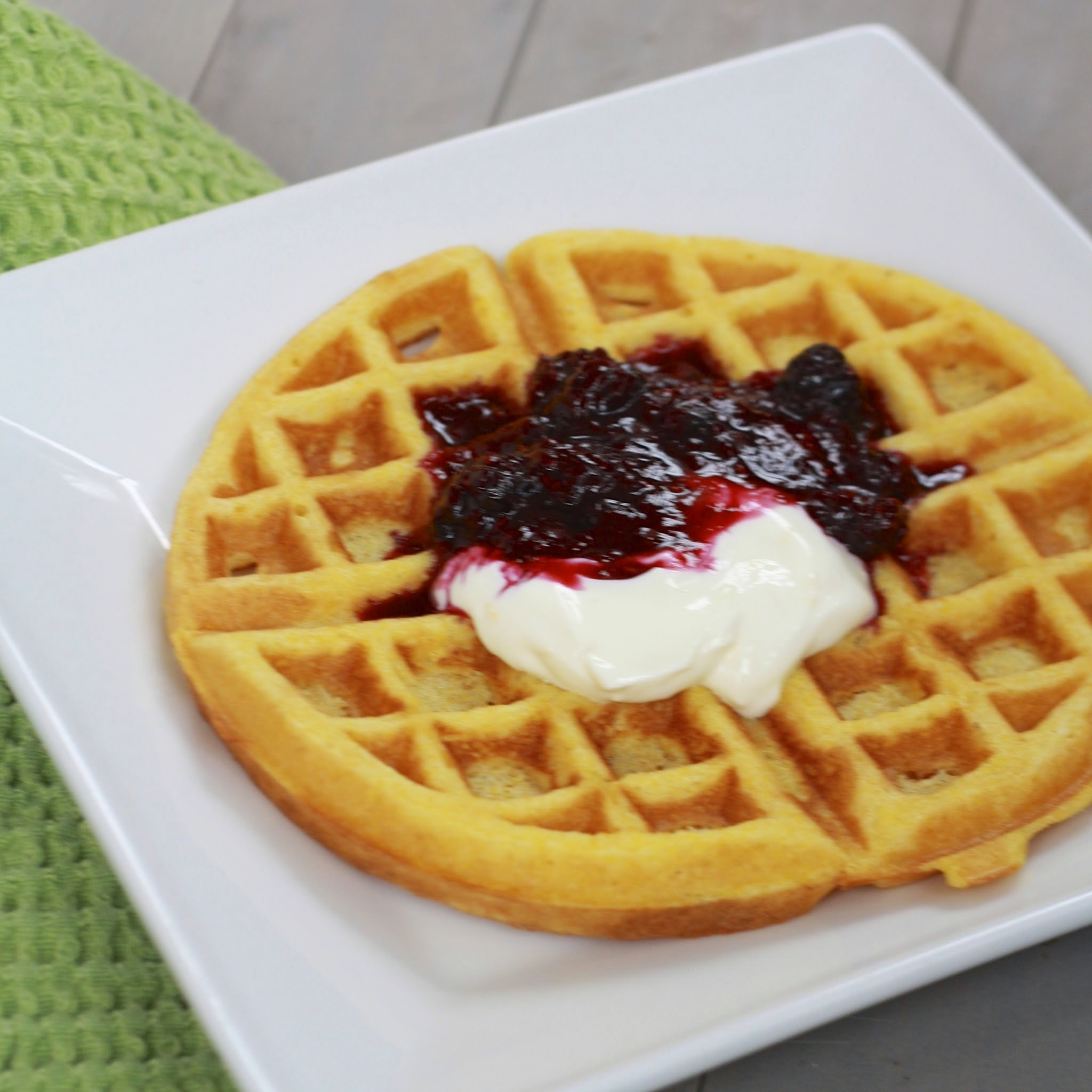 lemon cornmeal waffles with berry compote