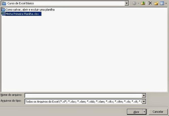 Como abrir a planilha .xls do Excel