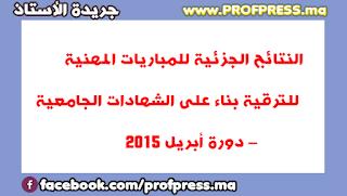 النتائج الجزئية للمباريات المهنية للترقية بناء على الشهادات الجامعية – دورة أبريل 2015