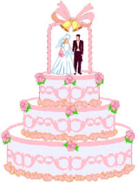 Pink and White Wedding Cake Clipart Pictures