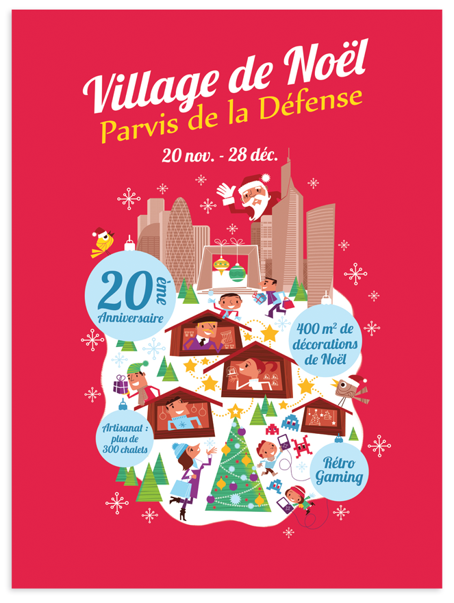 Clod affiche Village de Noël Paris, la Défense