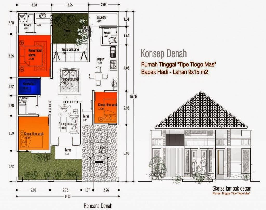 Menggambar Denah Rumah Sederhana 1 Lantai 3 Kamar Tidur TUKANG