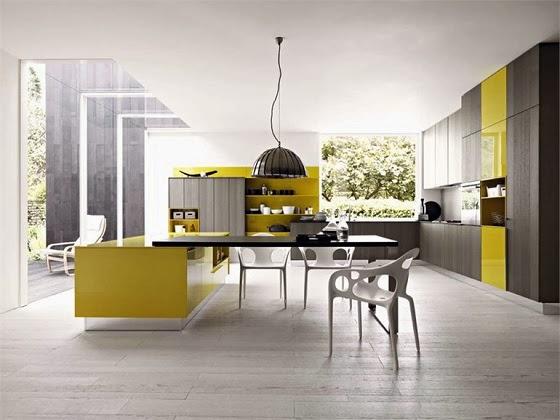 color acentos amarillos en muebles laqueados brillantes crean reflejos