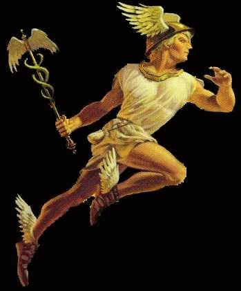 The other Hermes, the Greek messenger god. Note the winged sandals