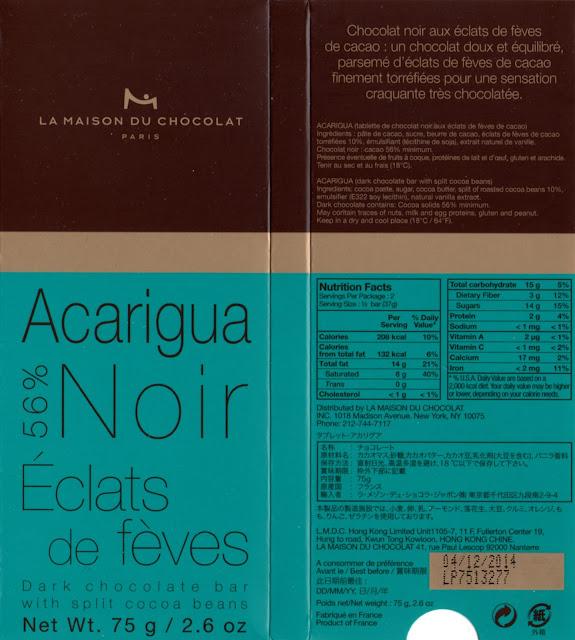 tablette de chocolat noir gourmand la maison du chocolat acarigua 56