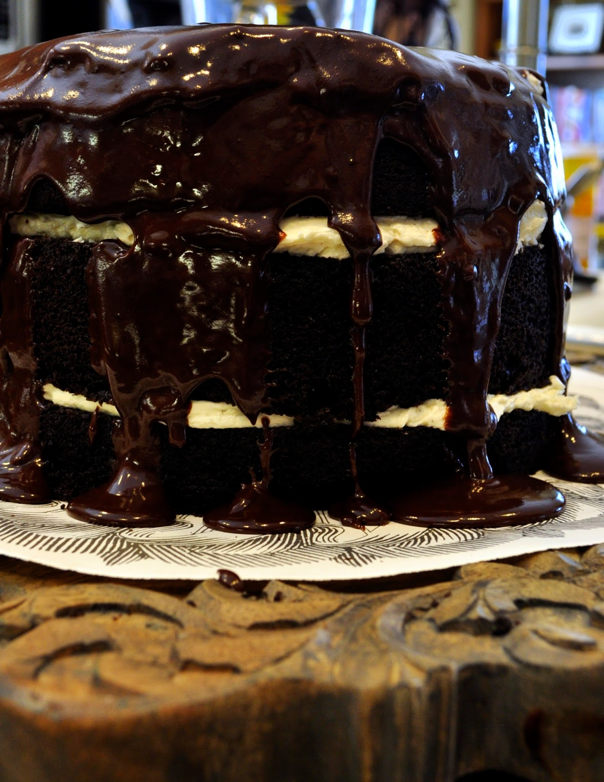 ... Sunday Mornings: Mile-High Chocolate Cake With Vanilla Buttercream