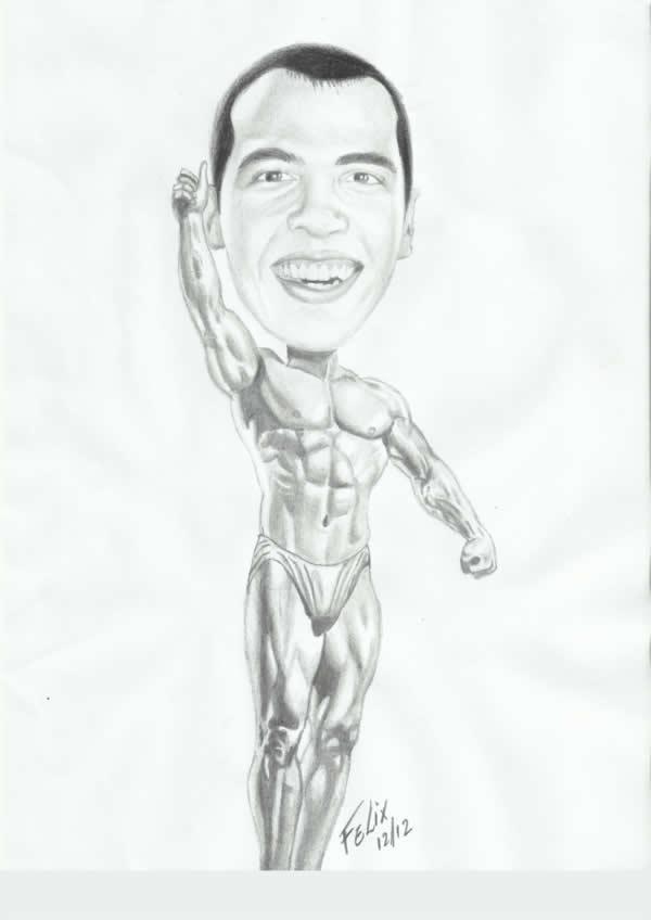 Caricatura de um homem musculoso (desenho)