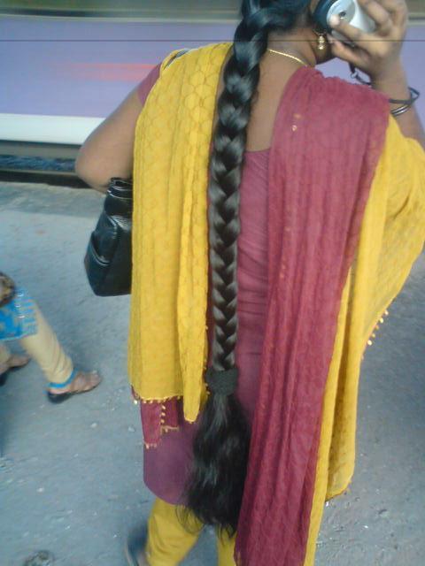 Oiled long hair braid