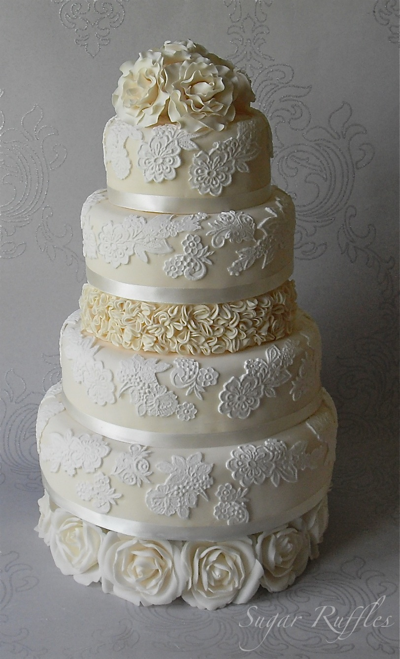lace wedding cake with ruffles and roses. Black Bedroom Furniture Sets. Home Design Ideas