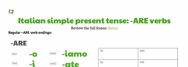 Preview of -ARE present tense review and Blank Conjugation Tables printable by ab for didattichiamo.blogspot.com
