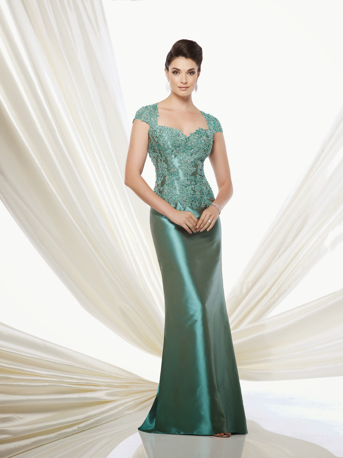 Mother of the Bride Dresses by Mon Cheri blue green