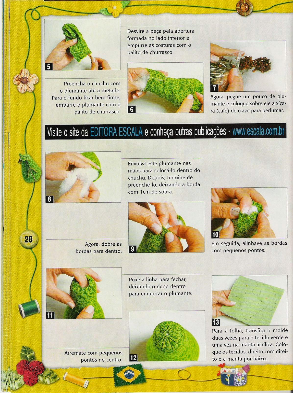 Moldes de frutas e legumes de tecido