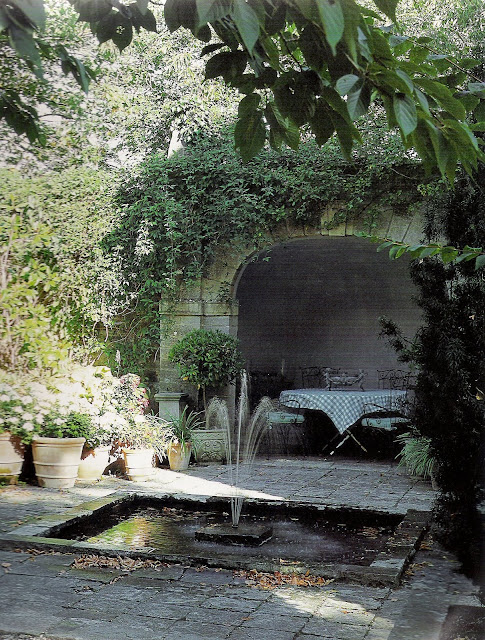Grotto and pond, image via The English House, edited by lb for l&amp;l