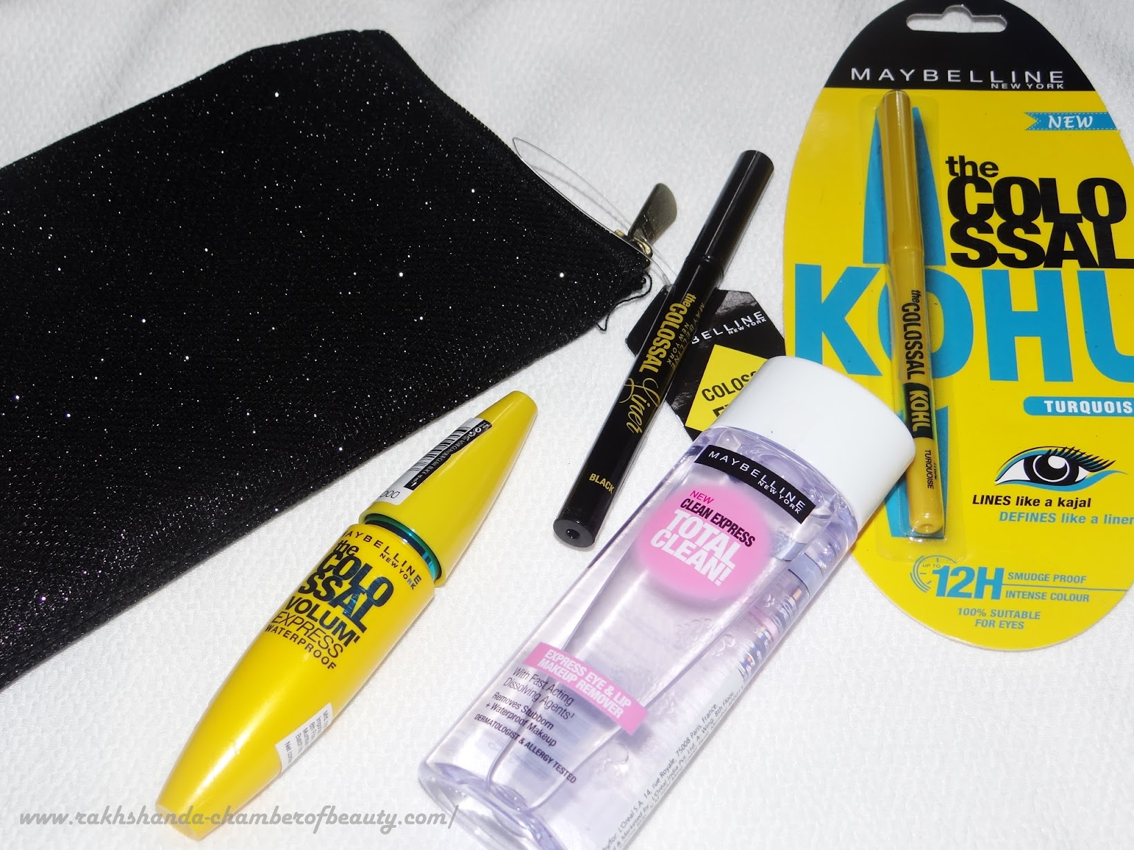 Maybelline NY Colossal Eye Kit- review, swatches, price in India, Colossal kohl, Colossal mascara, Colossal eyeliner, Clean express Makeup remover, Indian beauty blogger
