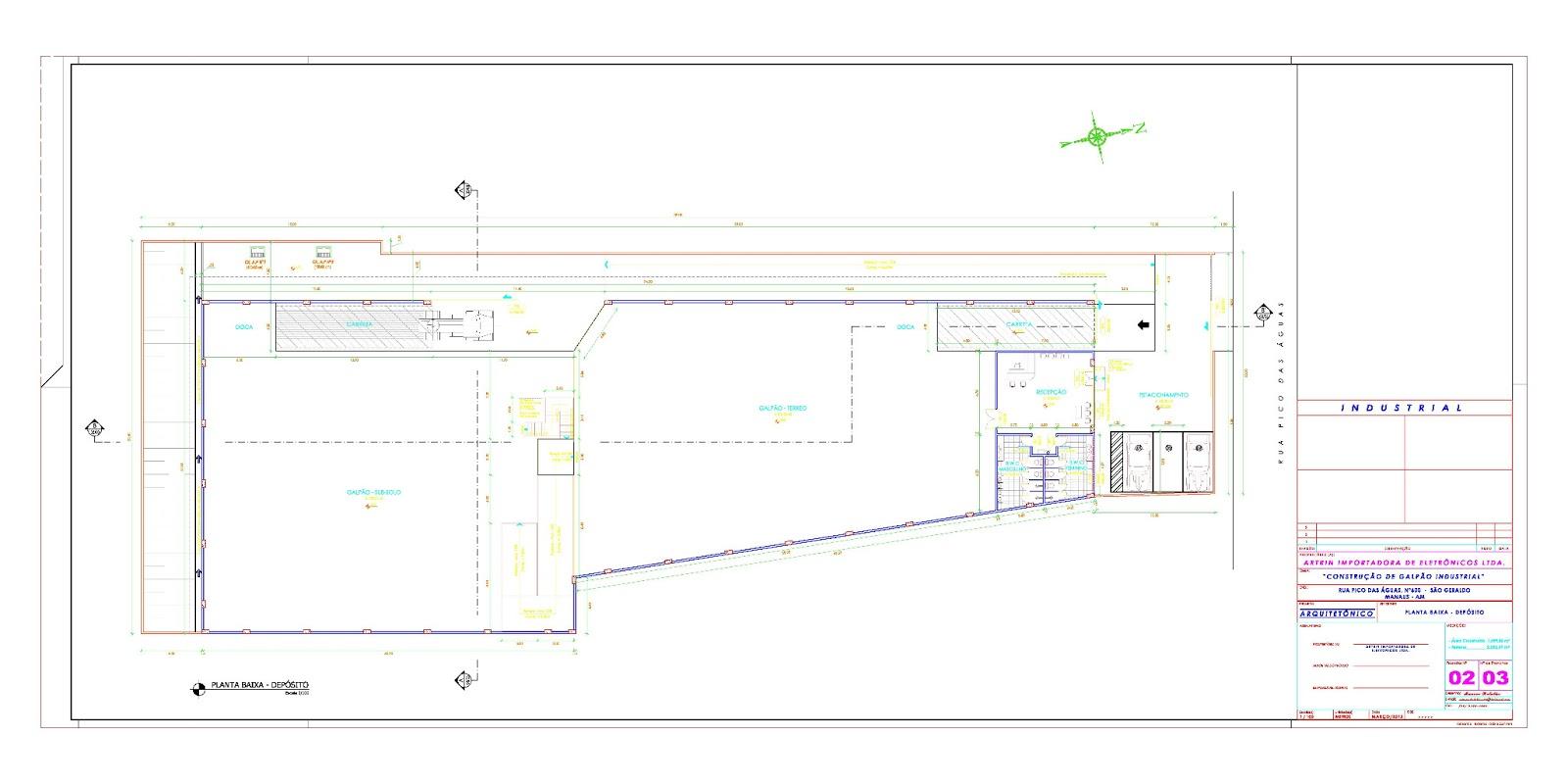 md projetos: Planta Baixa Projeto Galpão Industrial #B516B4 1600 800