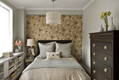 lovely bedroom design with accent floral wall in neutral color palette