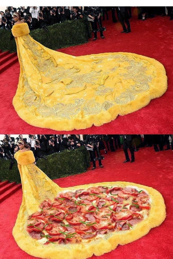 Funny mozarella pizza type dress wore by Rihanna