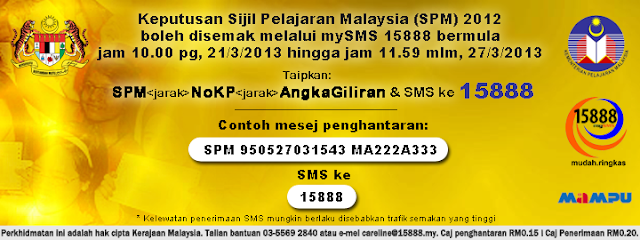 Semak Online dan SMS Keputusan SPM 2012 Pada 21 Mac 2013