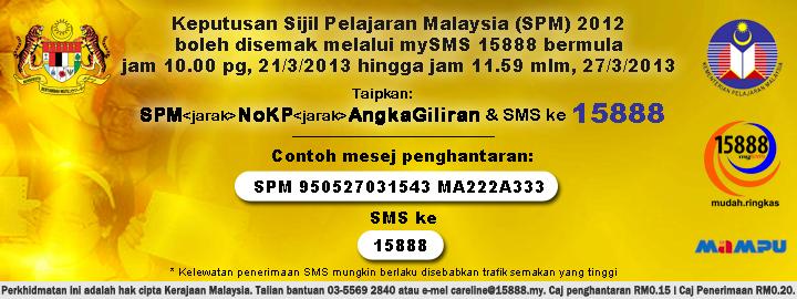 Semakan Keputusan SPM 2012 Online dan SMS