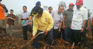 Rombongan menteri yang mengunjungi lokasi kebakaran lahan dan hutan