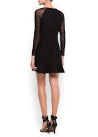 mango siyah tül elbise modeli