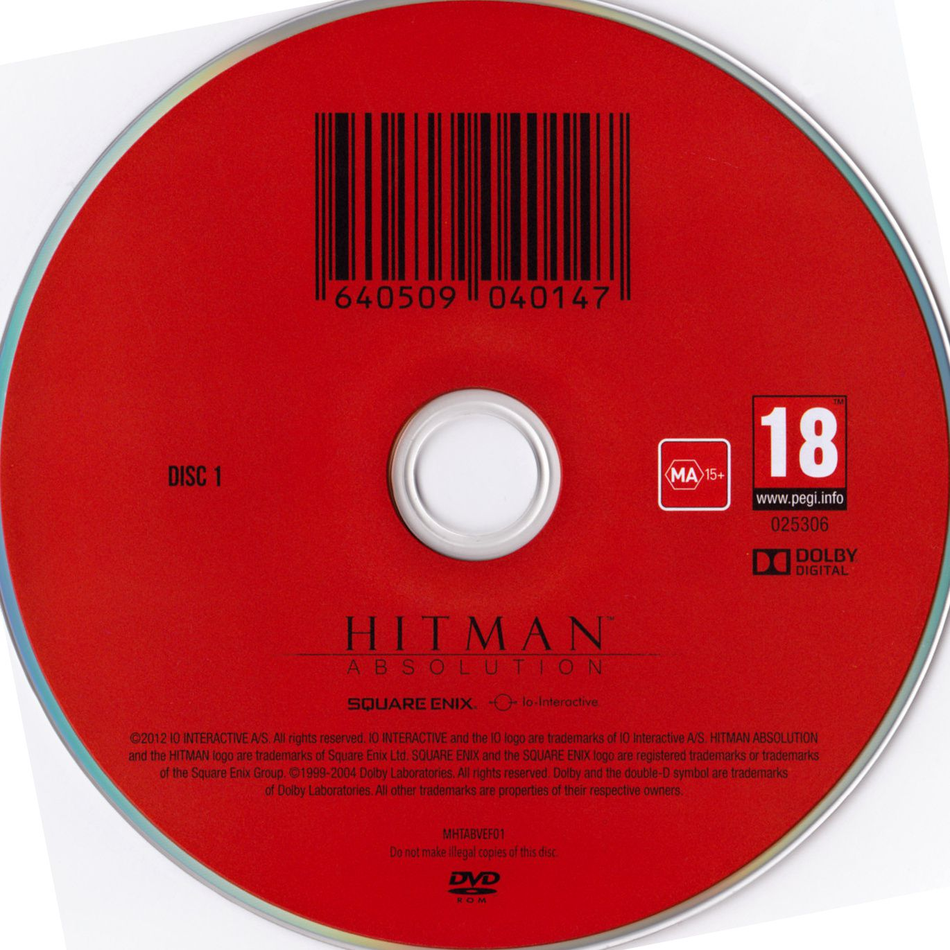 Label Hitman Absolution Disc 1 PC