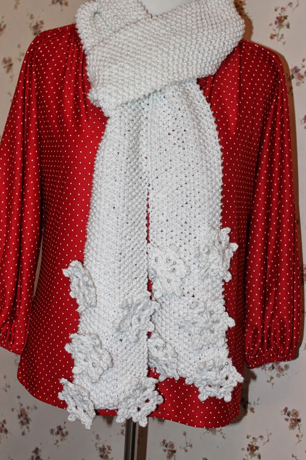 Forget-Me-Not: Knitted Scarf With Crocheted Snowflakes
