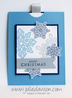 VIDEO & PDF: Double Slider Card Tutorial with Stampin' Up! Flurry of Wishes #stampinup www.juliedavison.com