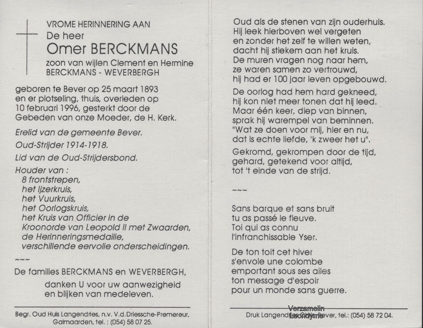 Bidprentje, Omer Berckmans 1893-1996. Verzameling Leondyme