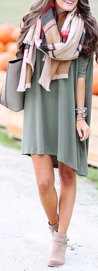 olive dress + scarf
