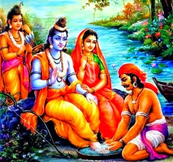 Lord Ram, Laxman, Sita Devi and Kevat