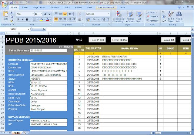 Aplikasi PPDB dan PSB 2015 excel