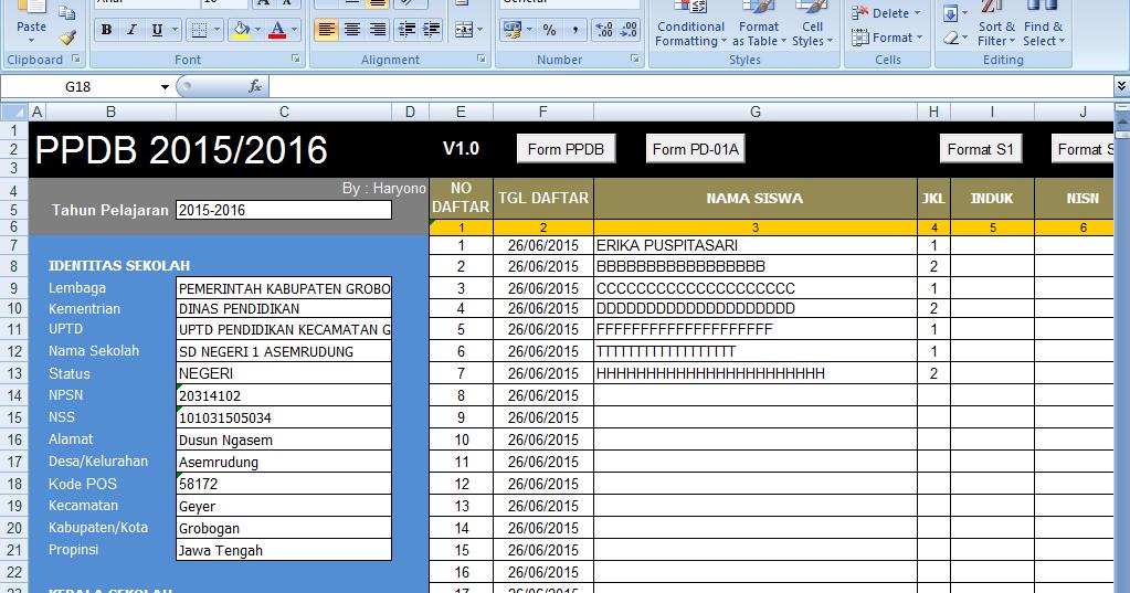 Aplikasi Ppdb Psb Sd Tahun Pelajaran 2015 2016 Terbaru Dibuat Dari Excel Operator Sekolah